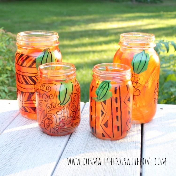 freestyle mason jar pumpkin lanterns