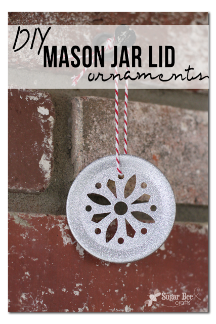 mason lid snowflake glitter ornament holiday craft diy