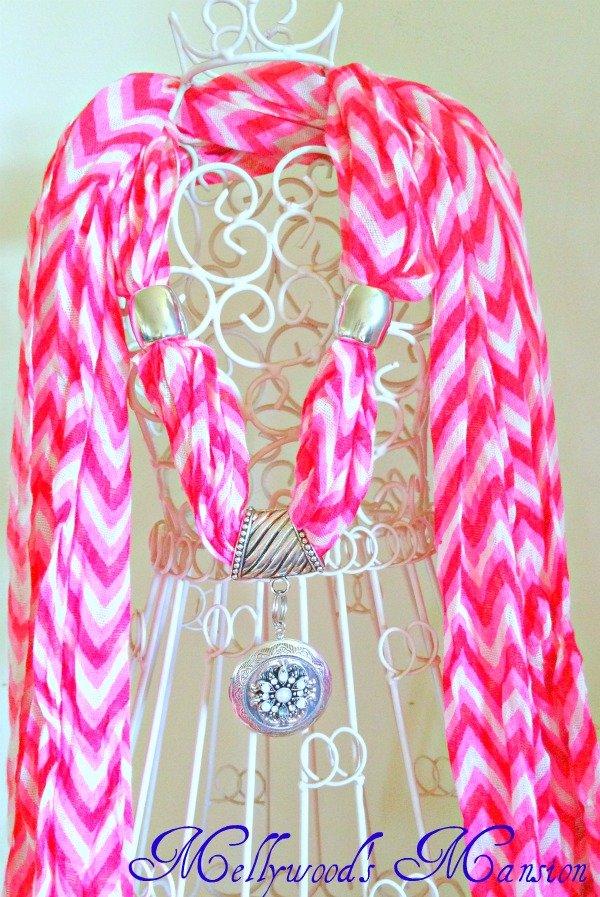 Pink Chevron Jewellry Scarf