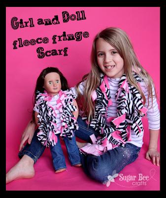 girl and doll fleece fringe scarf