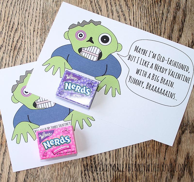 free printable zombie valentines 1