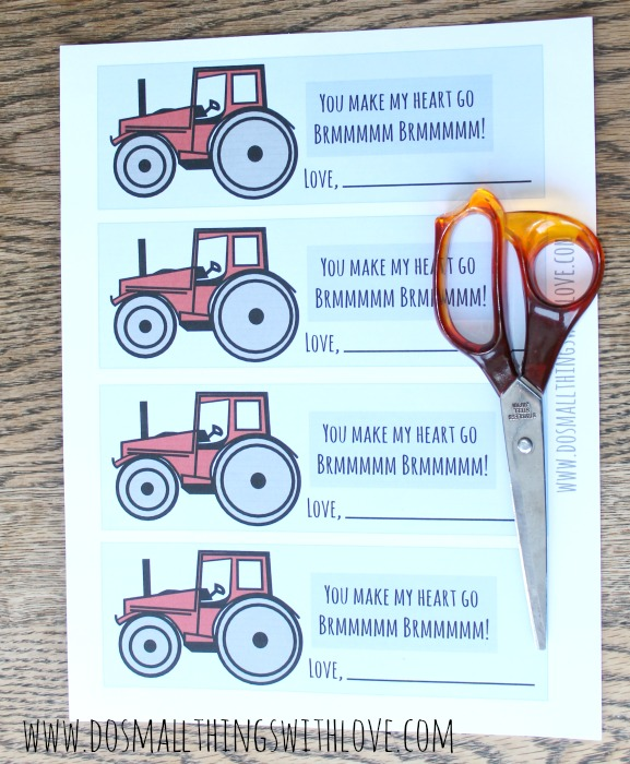 free tractor valentine printable