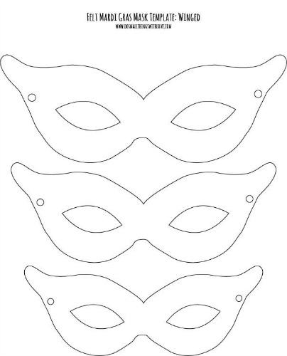 Madri Gras Mask template--winged