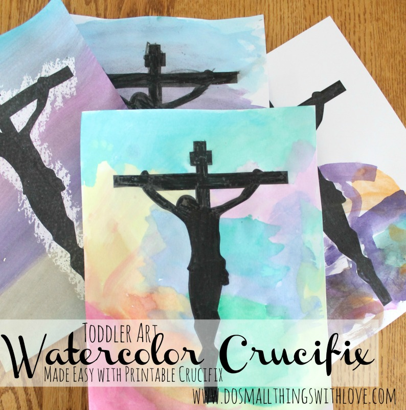 printable watercolor crucifix