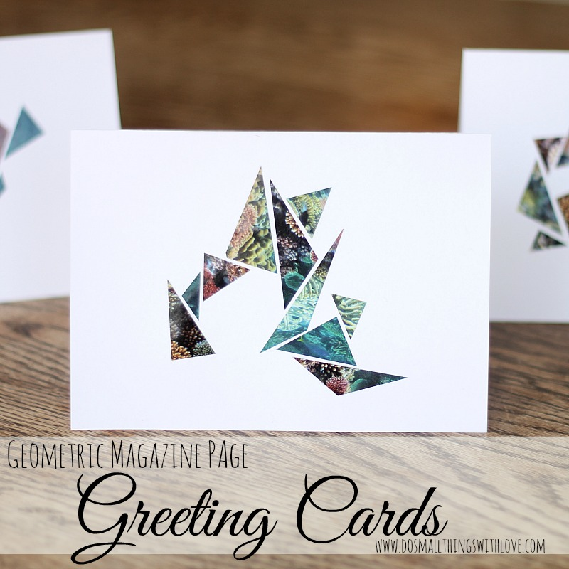 geometric magazine page greeting cards