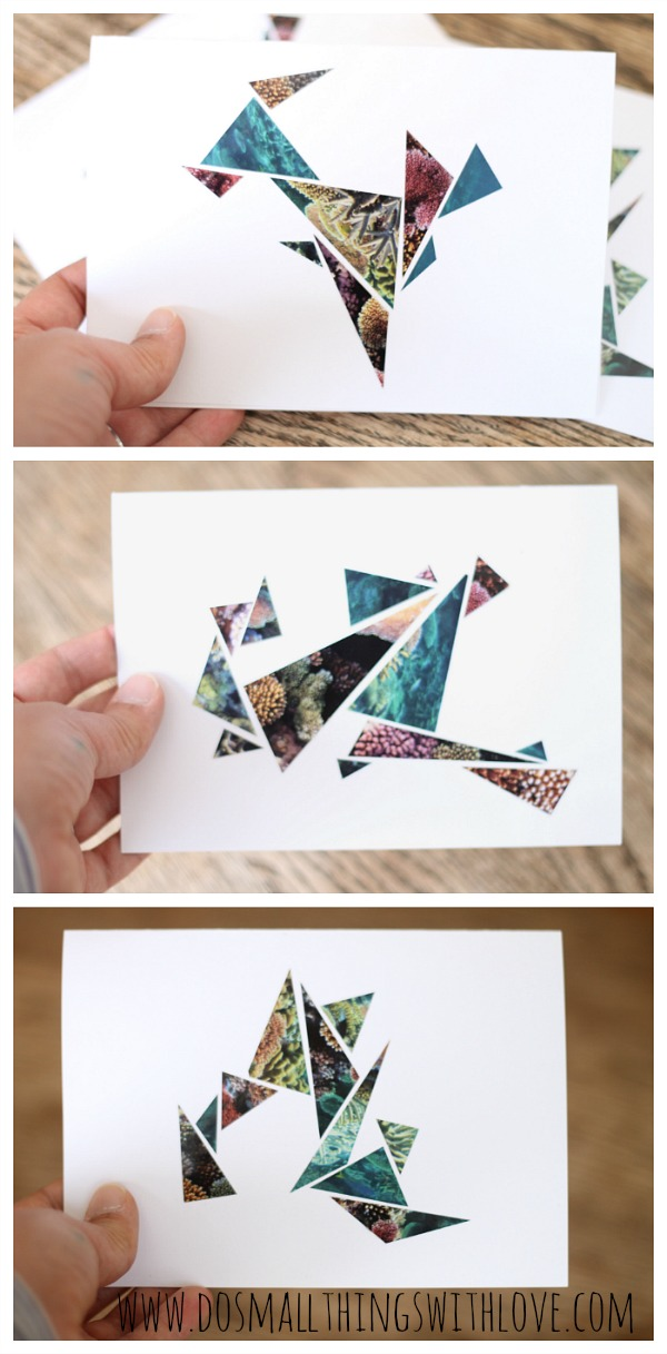 geometric magazine upcycled cards