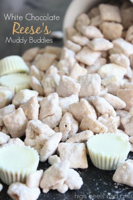 White Chocolate Reese's Muddy Buddies. #recipe httpwww.highheelsandgrills.com201312white-chocolate-reeses-muddy-buddies.html