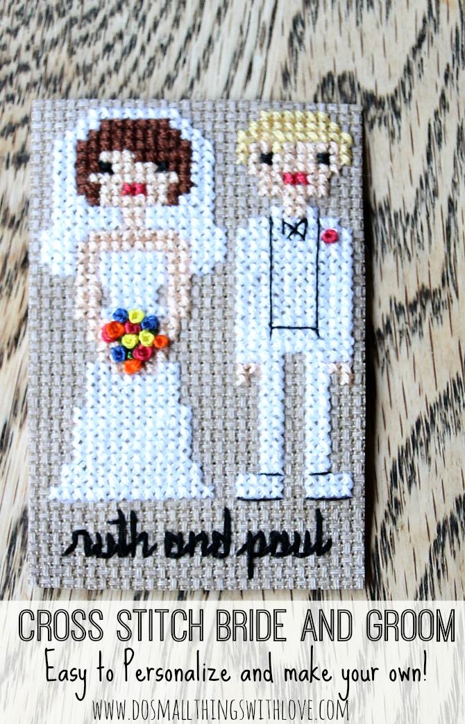 Cross stitch bride and groom