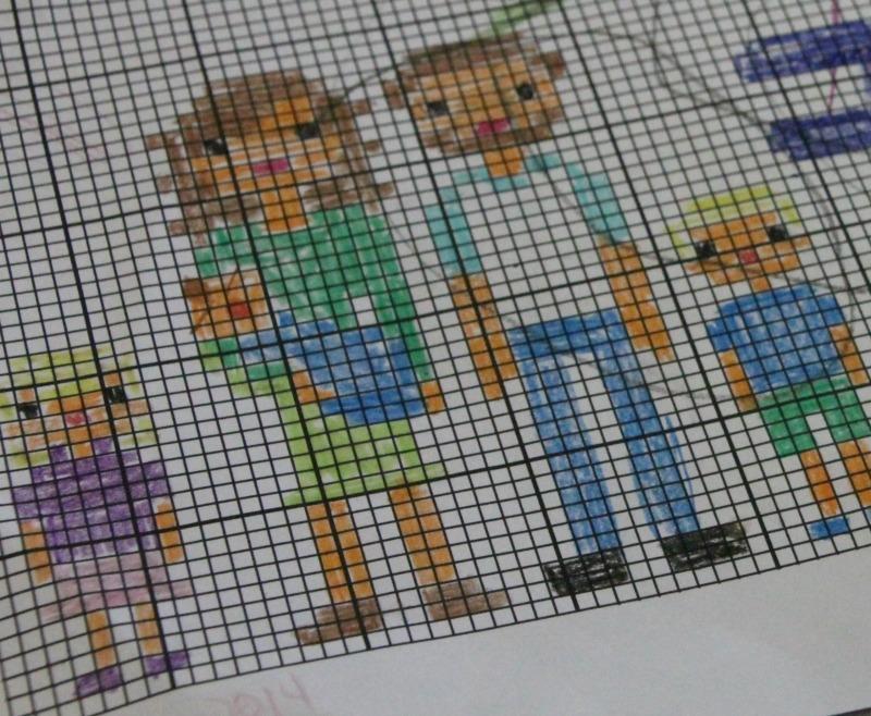 Family Portrait cross stitch planning