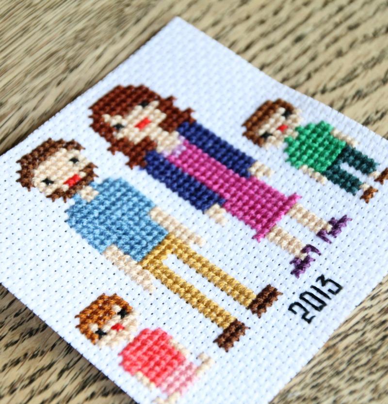 family portrait in cross stitch 2