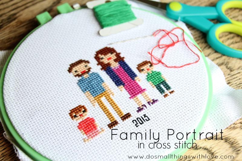family portrait in cross stitch--tutorial