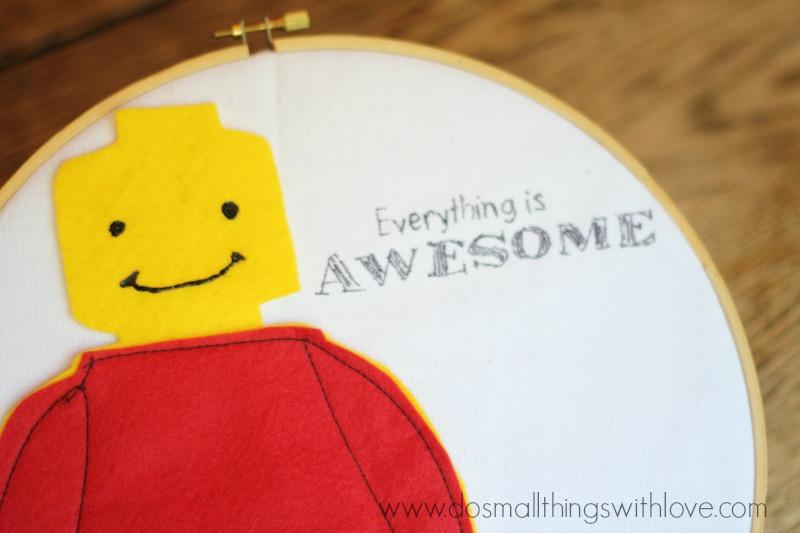 Lego Embroidery Hoop Art