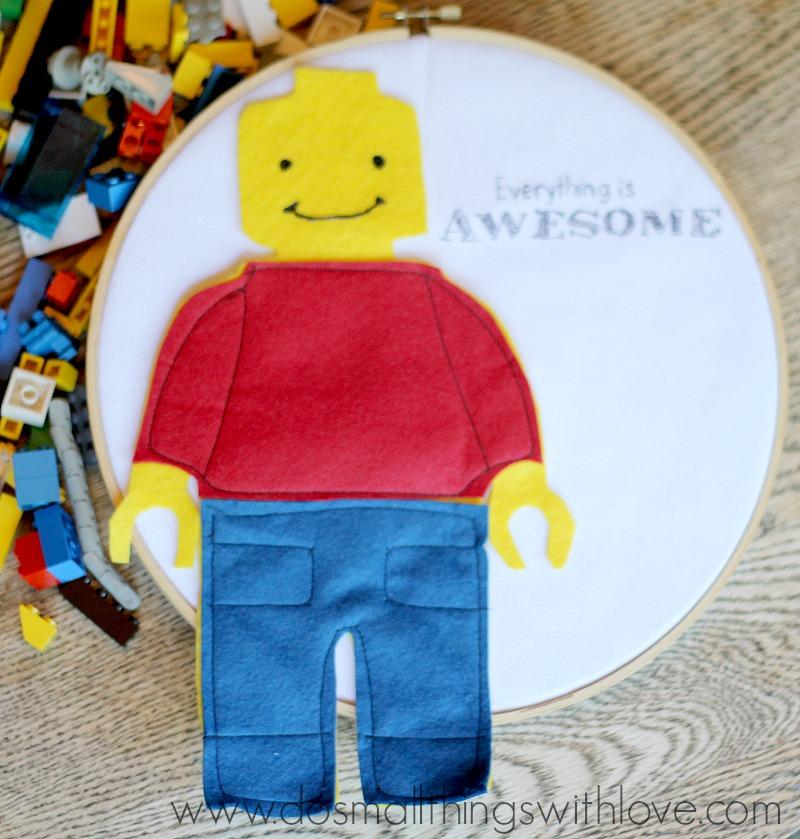 Lego Man Felt Embroidery Hoop Art