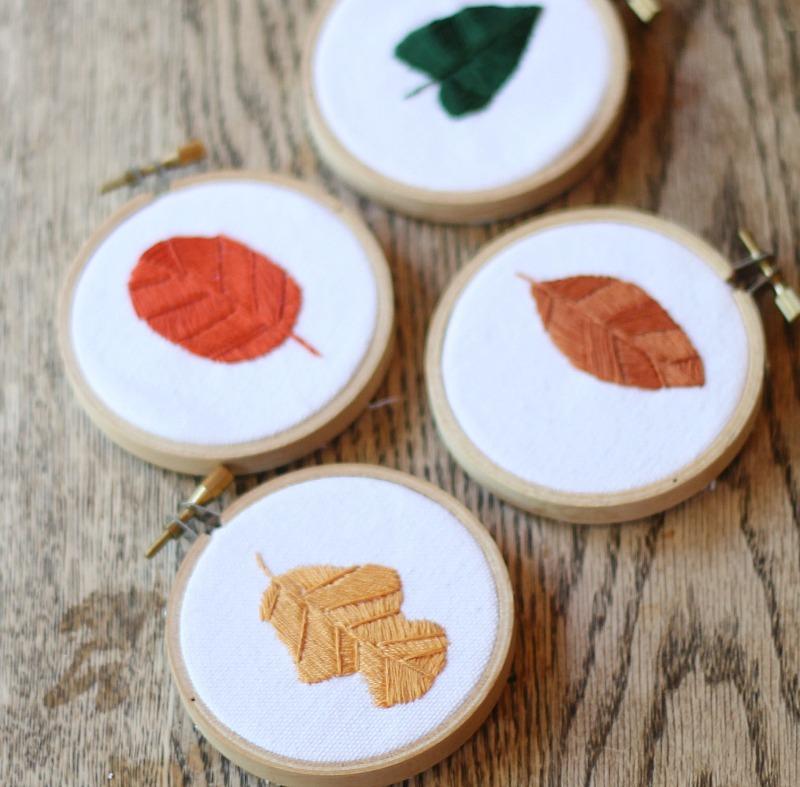 fall leaves mini embroidery hoops