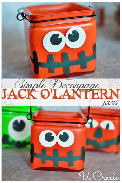 Simple Decoupage Jack O Lantern jars at U-createcrafts.com_thumb[2]