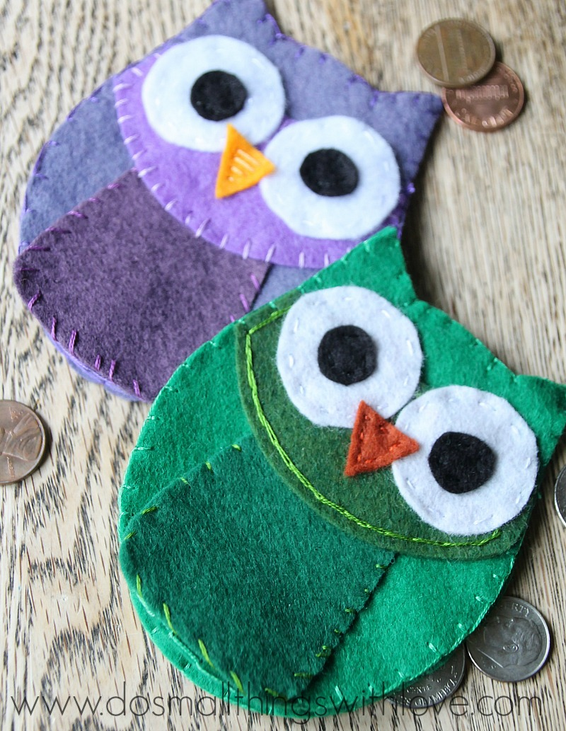 felt owl coin purse with free template