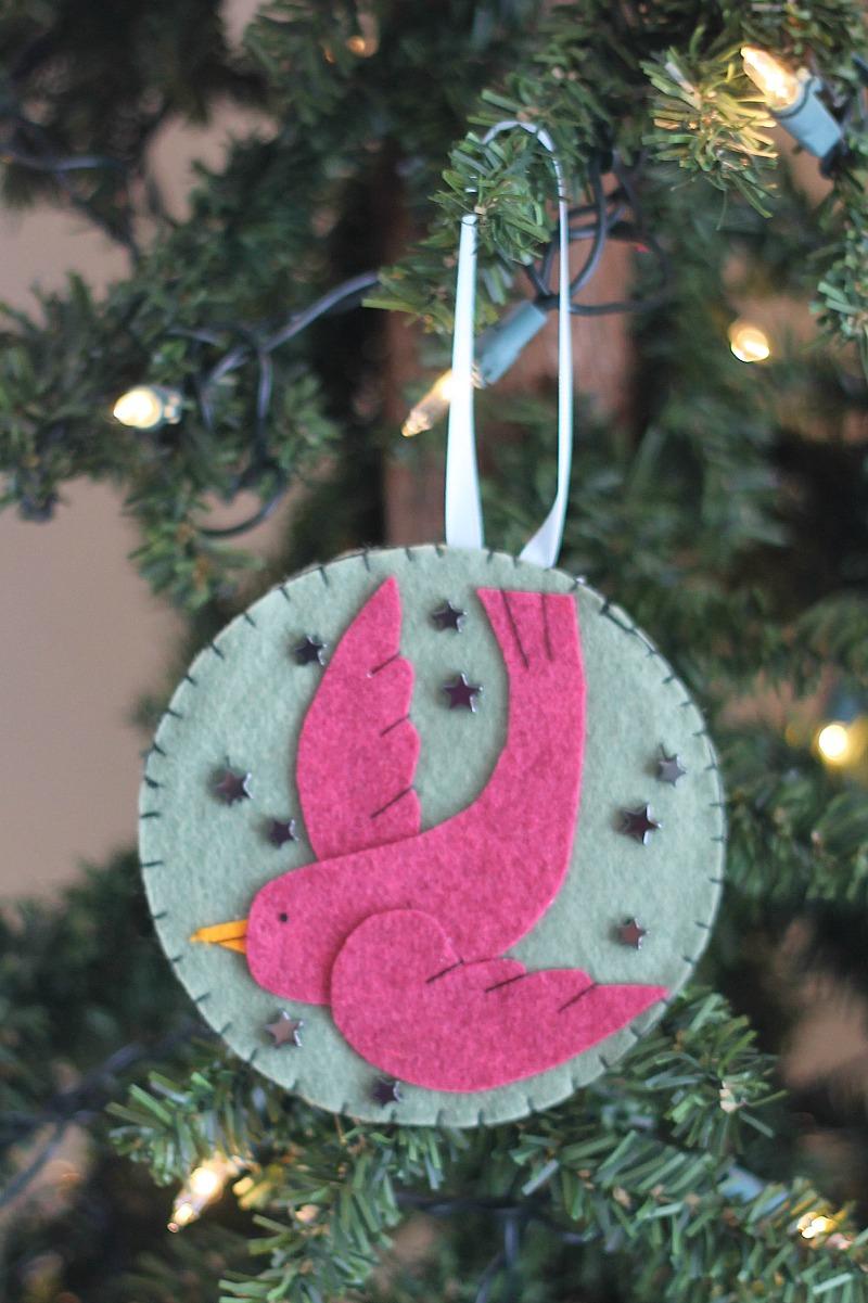 bird christmas ornament made from felt