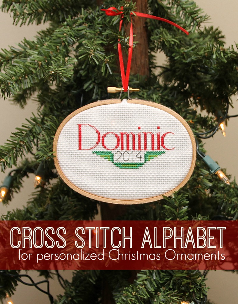 cross stitch alphabet for personalized Christmas Ornaments
