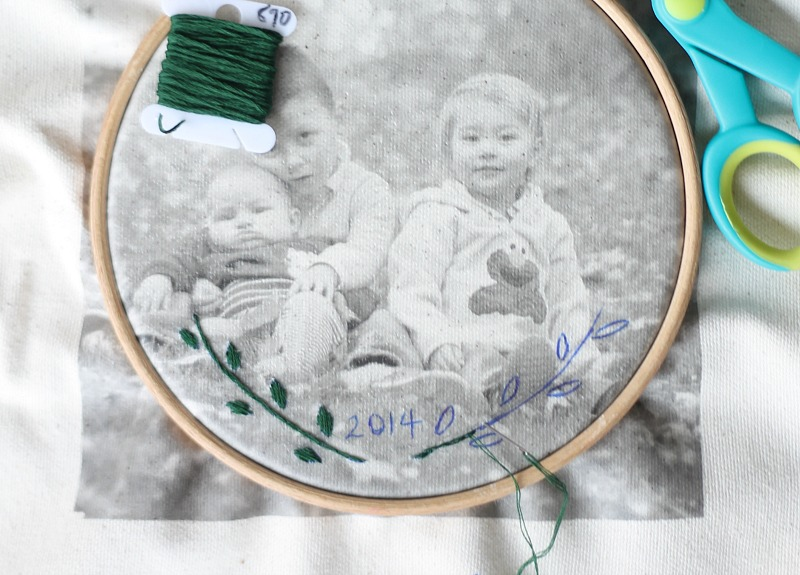 embroidered photo transfer stitching