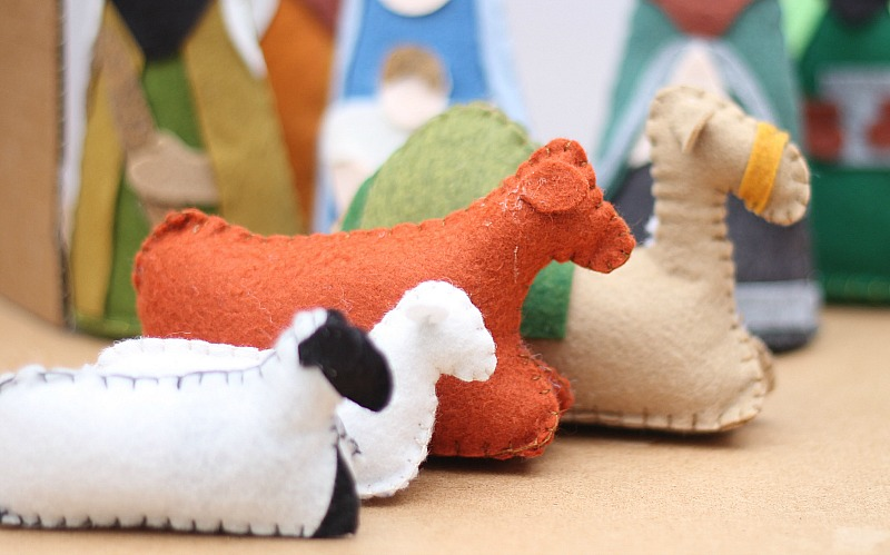 felt nativity all animals