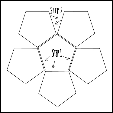 pentagon ball step 1