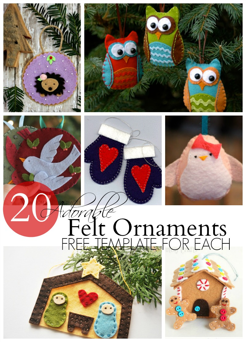20 Adorable felt ornaments--each with a free template!