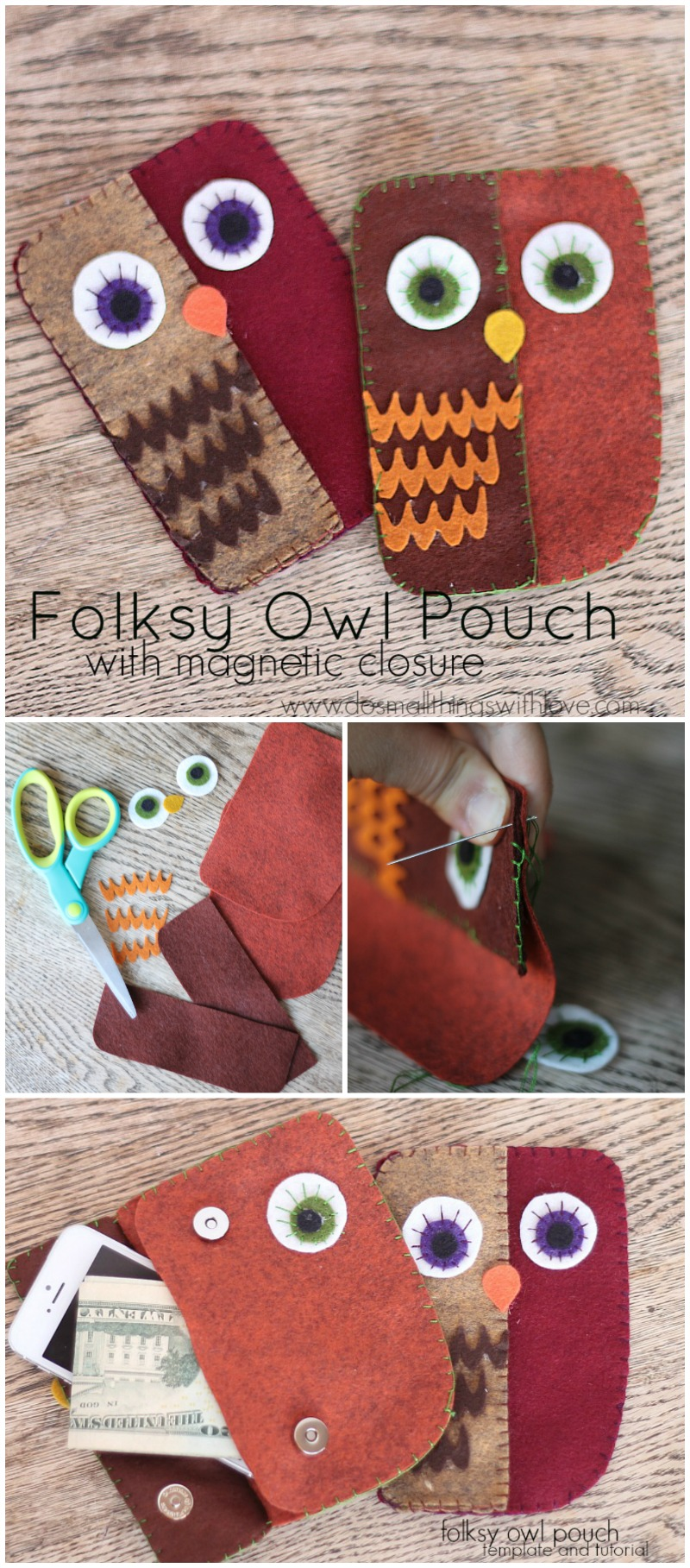 folksy owl pouch--full tutorial and FREE template!