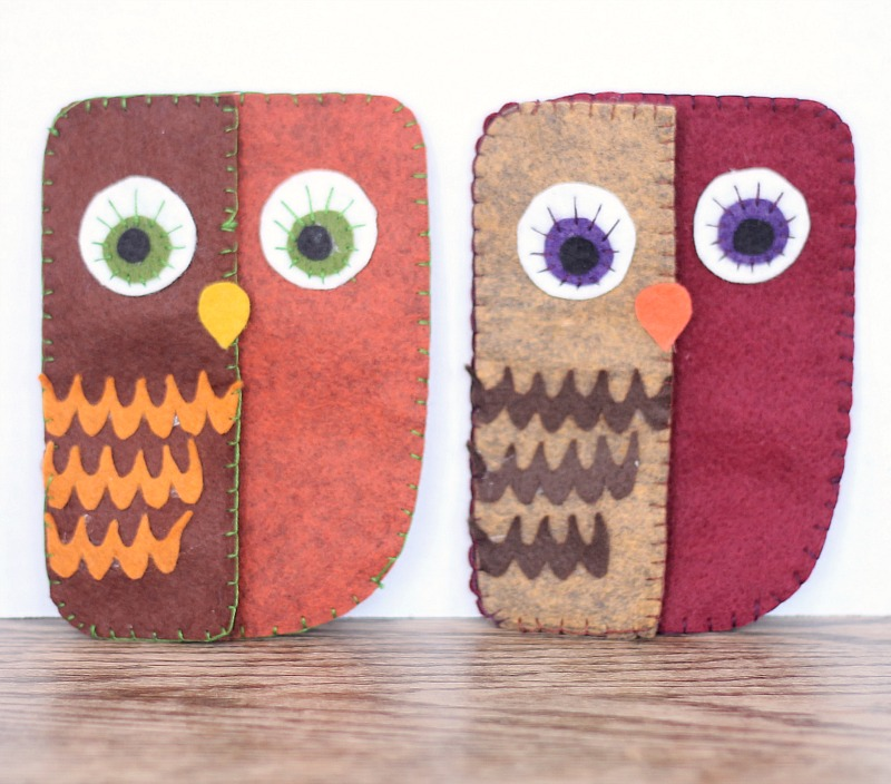 folksy owl pouch with magnetic closure