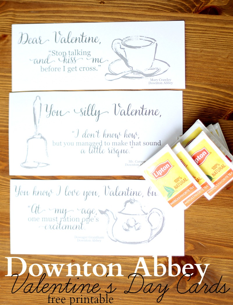 downton abbey free printable valentines