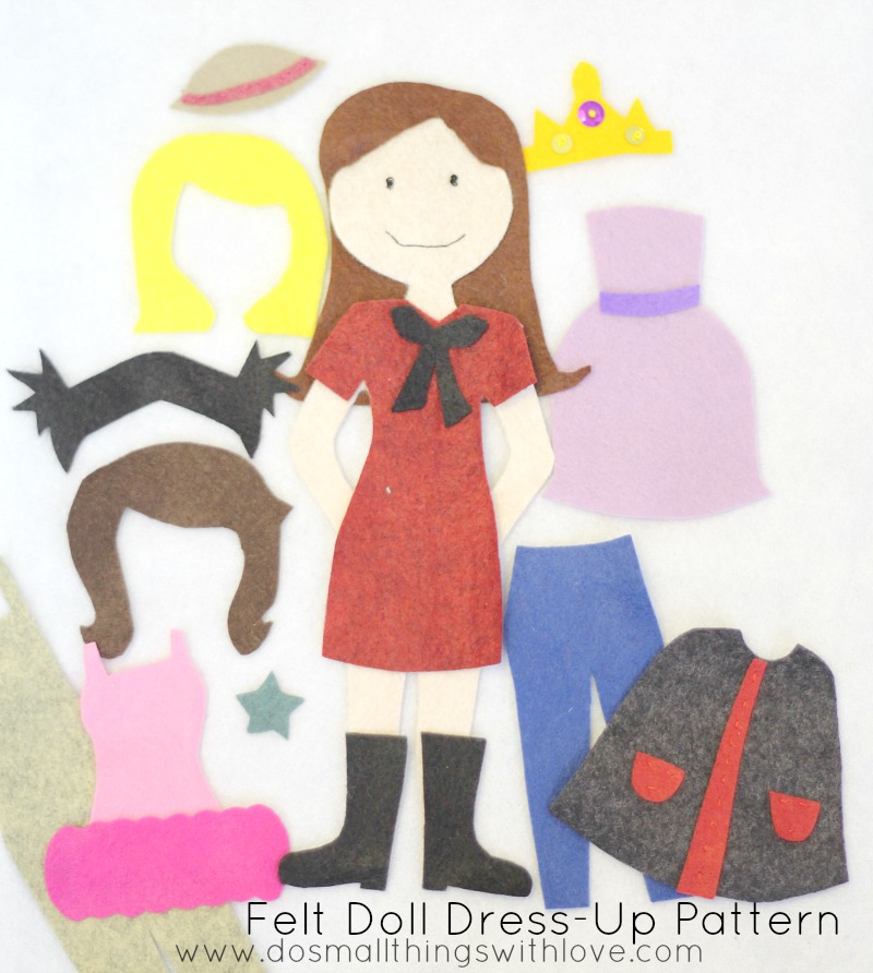 felt doll dress up pattern