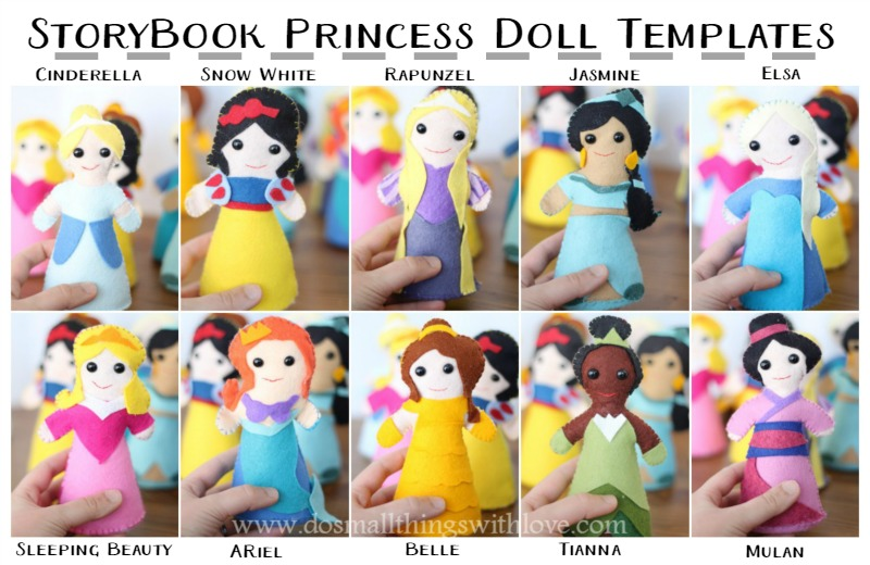 Storybook Princess dolls--a template to make each one