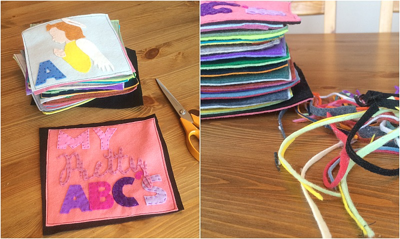 binding a felt book--back and trim