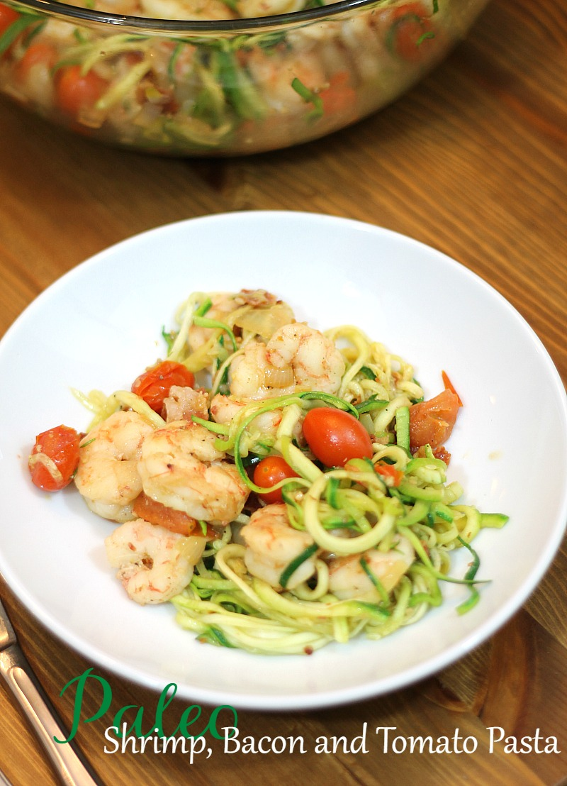 Paleo Shrimp bacon and tomato pasta. Easy and delicious recipe!