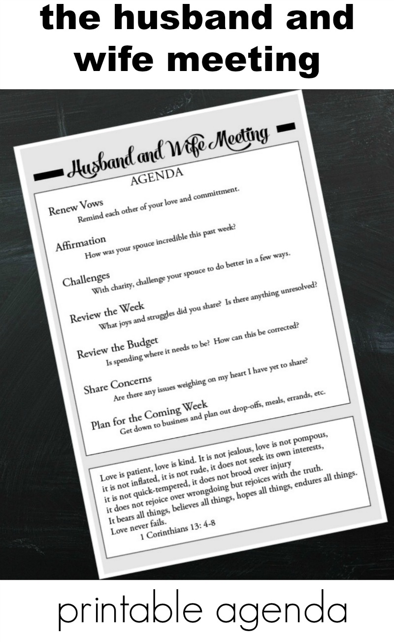 weekly husband and wife printable agenda