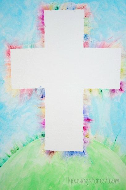 Colorful-Light-Ray-Cross-Oil-Pastel-Kids-art