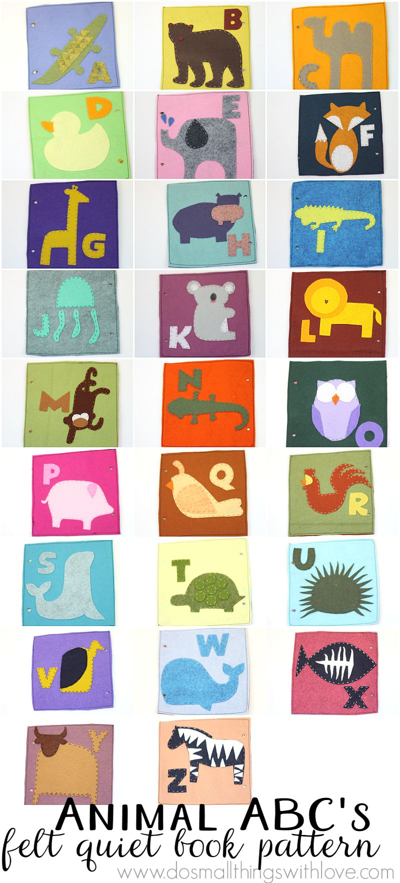 Animal ABC's Felt Quiet Book Pattern