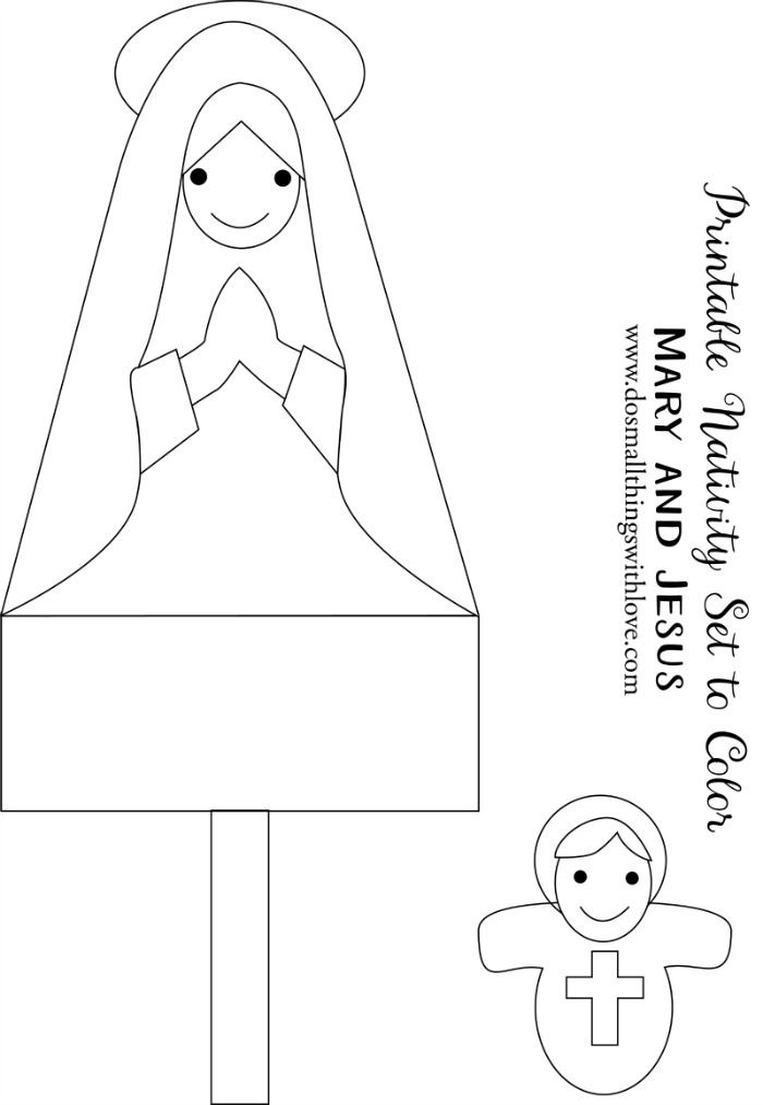 Printable Nativity Set to Color Mary and Jesus