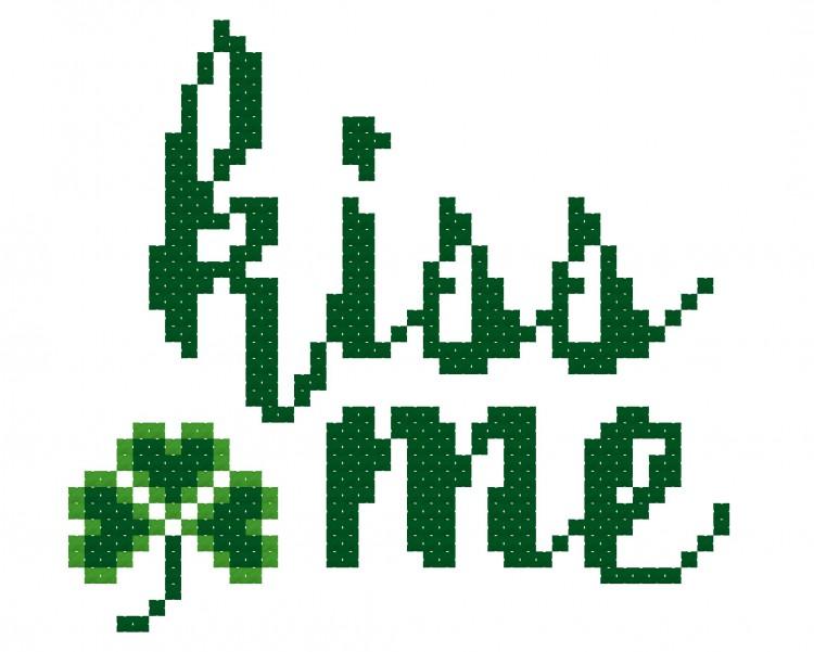 Kiss Me--Free Saint Patrick's Day Cross Stitch Pattern