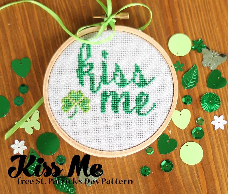 Kiss me free st patrick's day cross stitch pattern