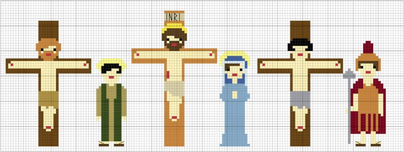 cruifixion characters in cross stitch
