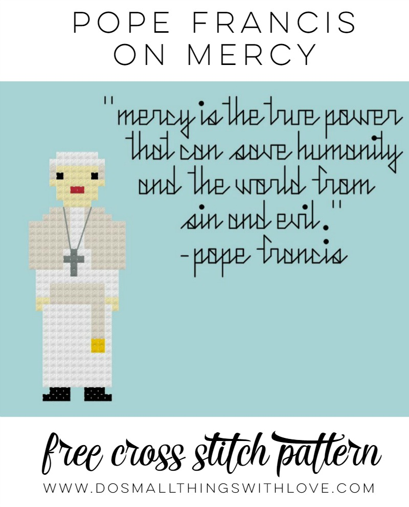 pope Francis Speaking on Mercy Free cross Stitch Pattern