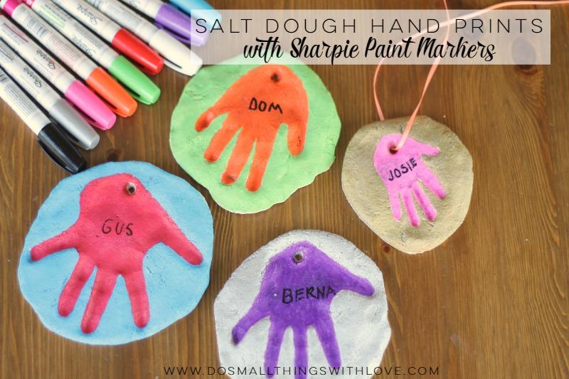 salt dough hand prints with sharpie paint markers