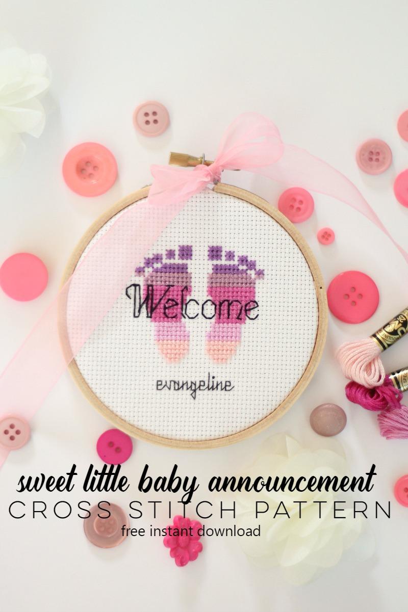 sweet little baby announcement cross stitch pattern