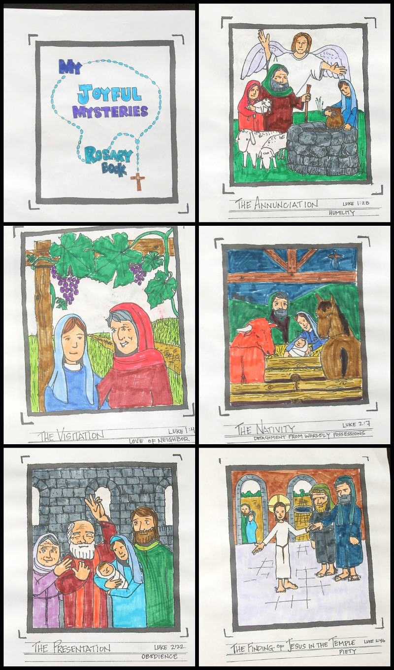 Joyful Mysteries Of The Rosary Free Coloring Book Catholic Sprouts